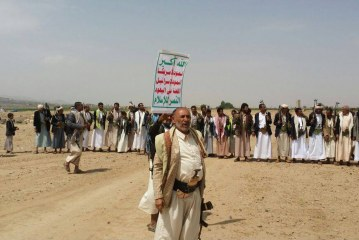 بالصور -ابناء مدينة ريدة ينددون بالتدخل الامريكي في اليمن
