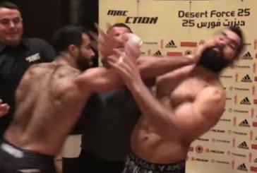 """قبل المباراة – معركة شرسة بين ملاكمين مصري وسعودي """"فيديو"""""""