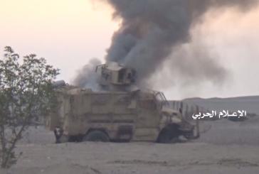 تدميرثلاث آليات عسكرية تابعة للمنافقين في صحراء الأجاشر وفي الوازعية بتعز.