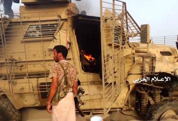 (صور) احراق آليات ومدرعات قوى الغزو والمرتزقة بالساحل الغربي.